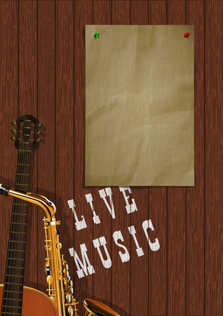 Musical background live music with wooden boards, acoustic guitar, saxophone and a piece of paper for an inscription or image. Çizim