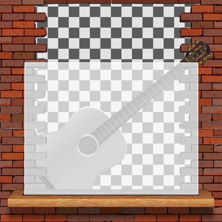 Musical pattern brick wall acoustic guitar and white frame with blank background. Reklamní fotografie - 126938331