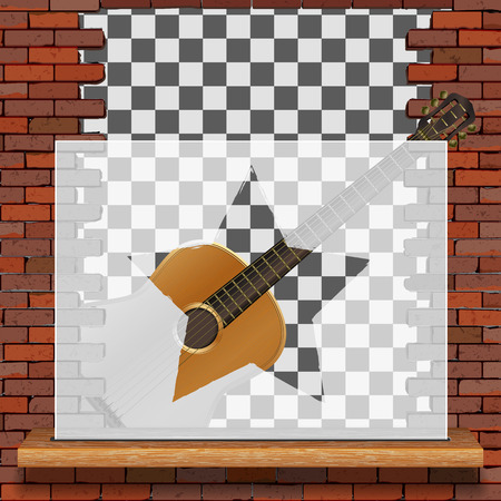 Musical pattern brick wall acoustic guitar and white frame with blank background. Ilustrace
