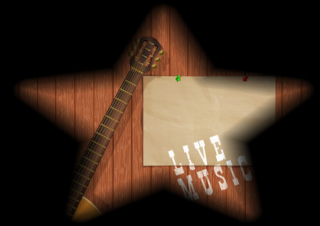 Musical background guitar on a wooden board in the gap and the shadows in the form of a star. Ilustrace