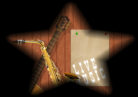 Musical background guitar and saxophone on a wooden board in the gap and the shadows in the form of a star. Illustration