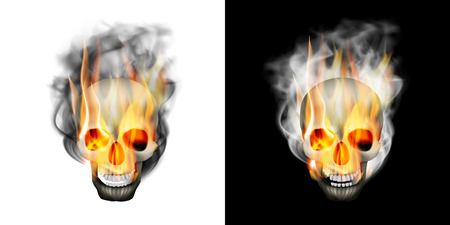 Realistic human skull in the smoke and fire. Isolated object on white and black background, can be used with any image or text.