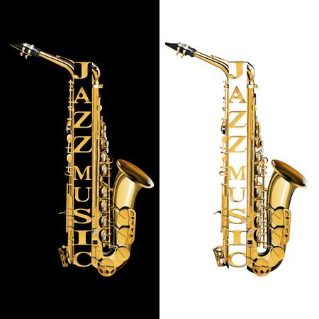 Saxofoon in de sectie met de inscriptie jazzmuziek. Geïsoleerde objecten op witte en zwarte achtergrond.