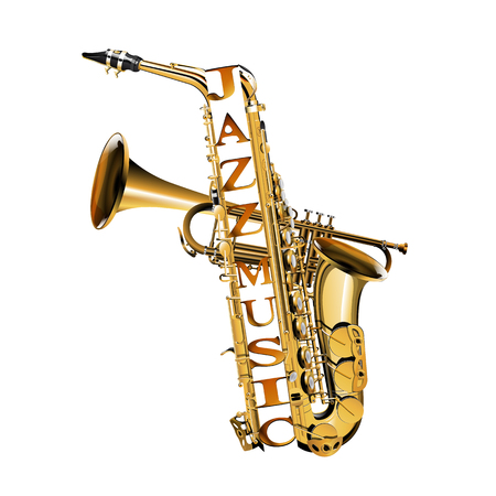 Saxophone and trumpet in the section with the inscription jazz music. Isolated objects on white background.