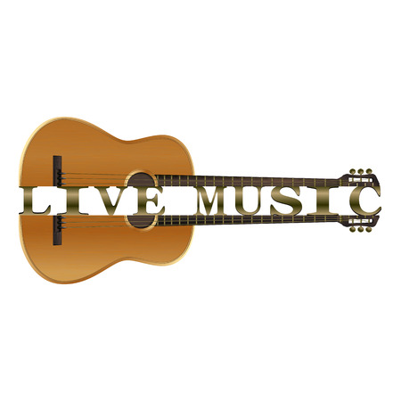 Acoustic guitar divided into parts with the text live music. Isolated object on white background.