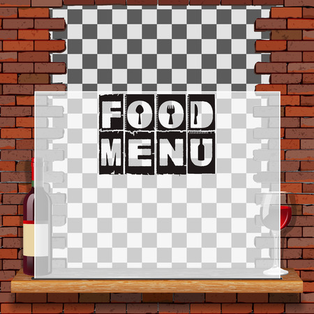 Menu food and drink, template for a restaurant menu with a brick wall and a translucent frame with text.