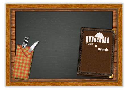 Restaurant menu template, knife and fork with a menu book on a wooden board table. Isolated object on white background. Ilustrace