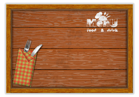 Restaurant menu template, knife and fork with a menu book on a wooden board table.
