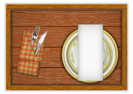 Restaurant menu template wooden board plates and a knife with a fork in a napkin. Isolated object on white background. Reklamní fotografie - 125954711