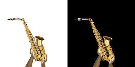 Golden saxophone in the hands. Isolated object on white and black background.
