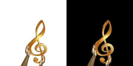 Golden treble clef in hands. Isolated object on white and black background.