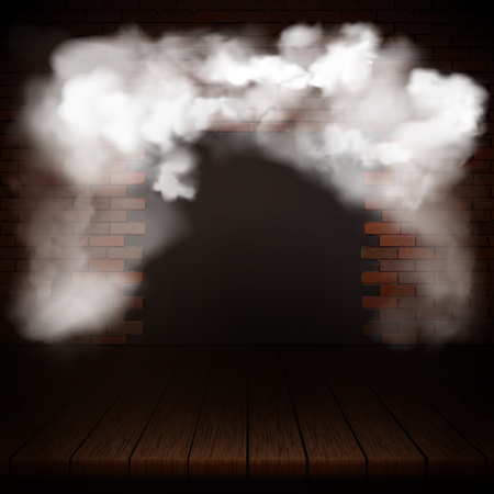 Background of wooden boards in smoke with brick wall. Çizim