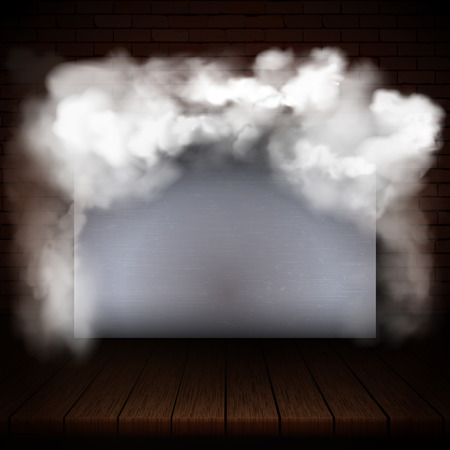 Background of wooden boards in smoke with brick wall and gray frame.