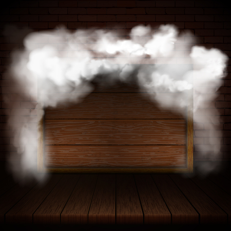 Background of wooden boards in smoke with brick wall and wooden frame.