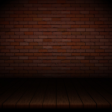 Background of wooden boards with brick wall. Çizim