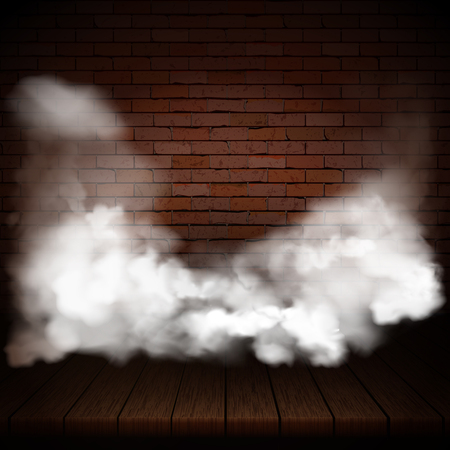Background of wooden boards in smoke with brick wall. Ilustrace