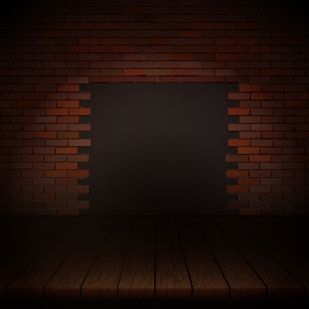 Background of wooden boards with brick wall. Ilustrace