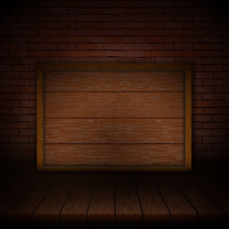 Background of wooden boards with brick wall and wooden frame.