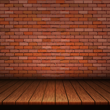 Background of wooden boards with brick wall. Vectores