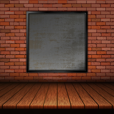 Background of wooden boards with brick wall and iron frame. Ilustrace
