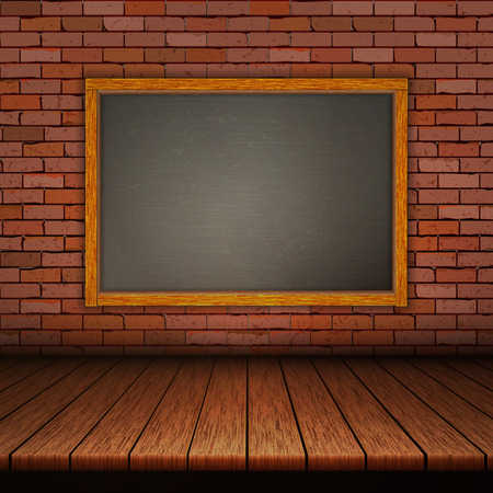 Background of wooden boards with brick wall and black frame.