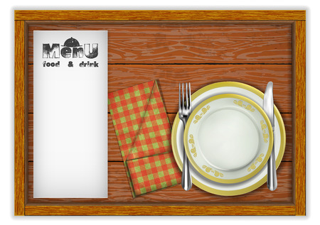 Restaurant menu template wooden board plates and a knife with a fork in a napkin. Isolated object on white background.