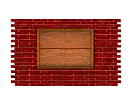 Brick wall of red brick with a frame of wooden planks.