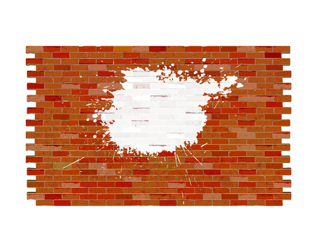 Red brick brick wall with white paint blots, blank template.