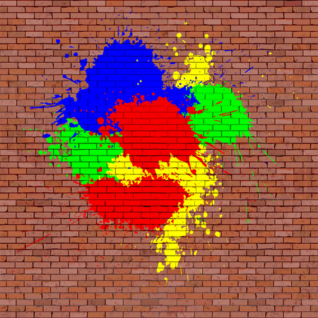 Red brick brick wall with color paint blots, blank template.