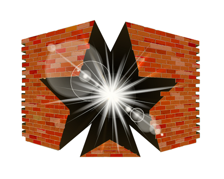 Old brick wall with a break in the form of a star. Isolated object.