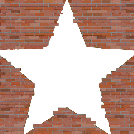 Old brick wall with a slit in the shape of a star. Isolated object on white background.