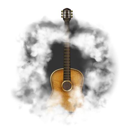Chitarra acustica in una nuvola di fumo, oggetti isolati su sfondo bianco.