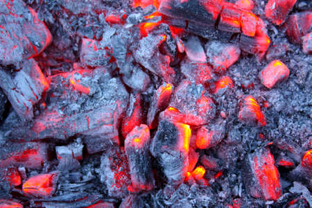 fervour: Last decaying pieces of coal in the furnace Stock Photo