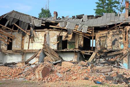 Ruïnes, kan worden gebruikt als sloop, aardbeving, bom, terroristische aanslag of natuurramp concept.