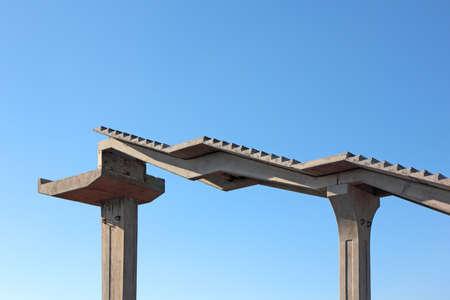 metal spring: Fragment of a pedestrian bridge under construction Stock Photo