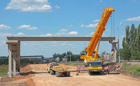 safeness: GLUBOKY, ROATOV-ON-DON, RUSSIA, MAY 29  Construction of a pedestrian bridge over the road M4