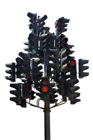 Many traffic lights in one. Isolated on white. photo