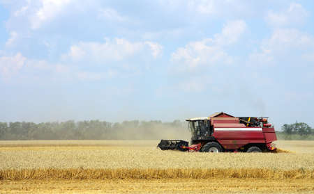 Combine harvester working in a field photo