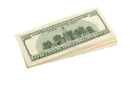 Stack of US dollars banknotes. Image isolated on white background Stock Photo