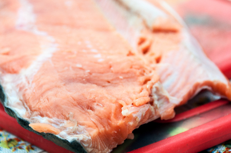 A large piece of raw fresh red fish fillet Stock Photo