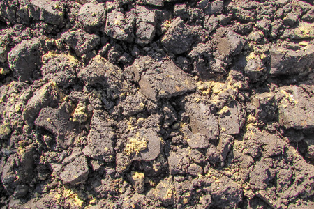 Clumps of wet dark plowed land from above closeup Stock Photo