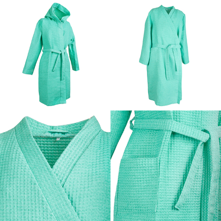 Collage of four photos of long aquamarine embossed bathrobe with belt, sleeve, pockets, waist and hood, isolated on white background