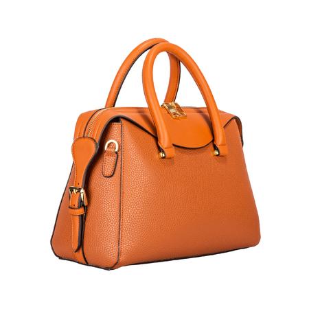 白い背景に隔離されたエンボスストライプのサイドビューとソリッドレザーのファッショナブルなライトオレンジクラシック女性のハンドバッグ 写真素材 - 102624458