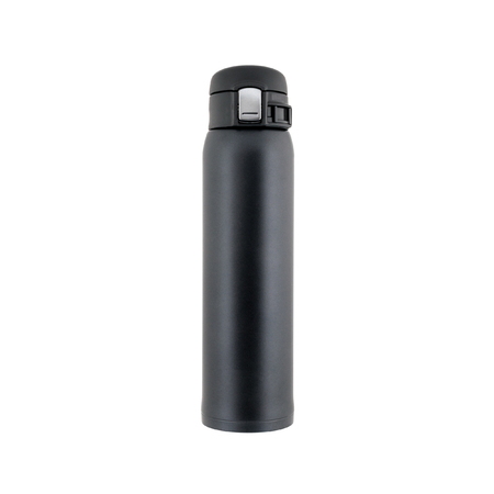 Black closed plastic thermos stands isolated on white