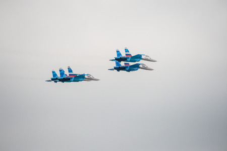 The Air Show. Military aircraft showing a group of aerobatics in the sky 報道画像