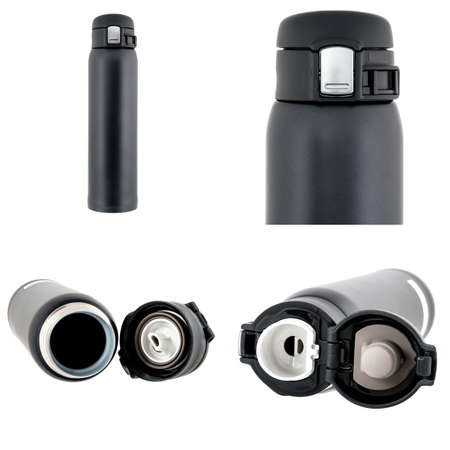 Black plastic thermos isolated on white. Collage of four photos Standard-Bild