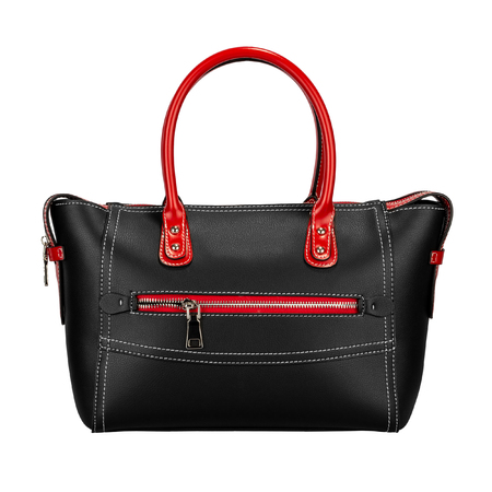 Fashionable red and black classic ladies handbag of solid textured leather with elegant handle and inserts and silver accessories of a front type, isolated on white background