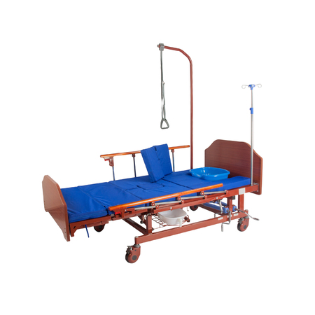 Medical brown metal bed on wheels with blue mattress and accessories isolated on white background