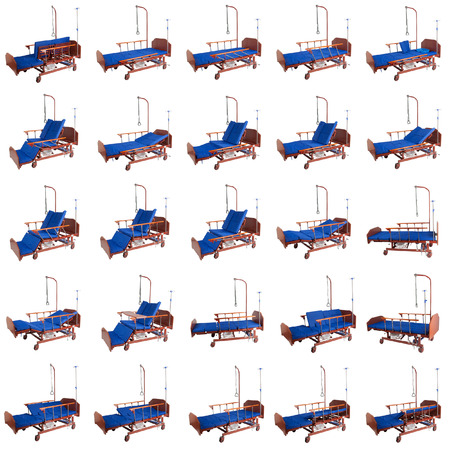 Medical metal bed on wheels with a mattress isolated on a white background. Collage of 25 photos Stock Photo
