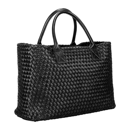 Black women's bag with leather ribbons interlaced in the form of rhombuses 版權商用圖片